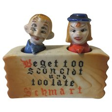 Vintage Nodder Salt and Pepper Shakers 4 Eyed German Couple