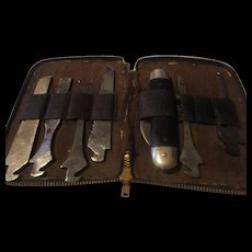Vintage old leather cased 7 piece Utica cutlery Co. pocket knife set