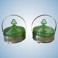 2 Vintage green  depression glass candy dishes in silver carrier