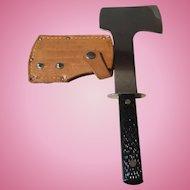 Vintage old Imperial hatchet in orig leather sheath
