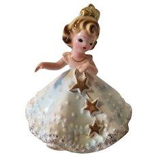 Vintage Josef Originals Figurine Girl with Gold Stars