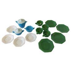 Vintage Akro Agate Child's Dishes Tea Set Blue Jadeite White