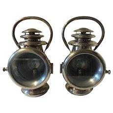 Pair of Chalmers Antique Kerosene Car Lights Lamps