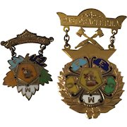 Vintage 10K Gold and Enamel Masonic  Past Oracle Pin