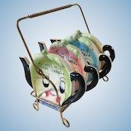 Set of 4 vintage Anthropomorphic Teapot Tea Bag Holders