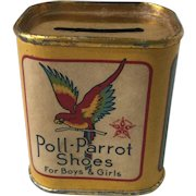 Vintage Poll Parrot Shoes Advertising Tin Penny Bank