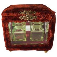 Antique Victorian Velvet Perfume Casket with Vaseline Glass Bottles