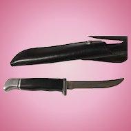 Vintage USA Made Buck hunting knife & sheath no 118