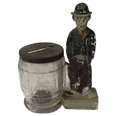 Antique Charlie Chaplin Glass Bank / Candy Container
