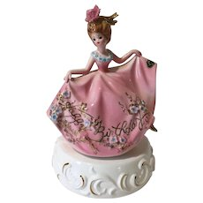 Vintage Josef Music Box Girl Figurine