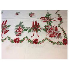 vintage christmas tablecloth 60x80