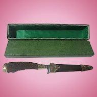 Vintage German stag handle AW - J.S. German knife in snake skin looking box
