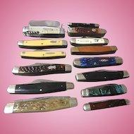 15 Vintage pocket knives case -buck- UMC- kbar- schrade -keen cutter- and more