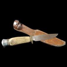 Vintage German stag handle Helmut Hartenau hunting knife and sheath