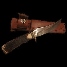 Vintage used Schrade hunting knife and sheath USA made Model=498