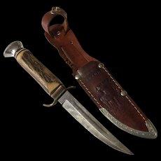 Vintage German stag handle Edge-Brand hunting knife & sheath number 480