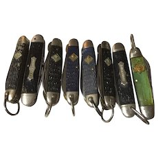 8 Vintage old scout pocket knifes Boy Scout-Cub Scout-Girl Scout all used and neat
