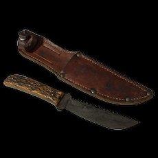 Vintage Western stag handle hunting knife western Boulder,Colorado Boy Scout sheath Bone saw teeth on top blade
