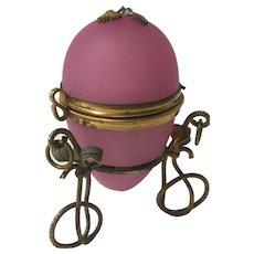 Antique French Pink Opaline Glass Egg Trinket Jewelry Box