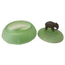 Vintage Green Depression Glass Elephant Powder Box
