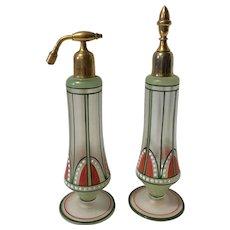 Vintage Art Deco Hand Painted Perfume Bottle Set