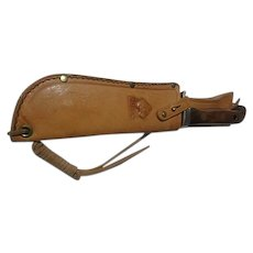 Vintage German Wood  handle White-Hunter Puma hunting knife & sheathe