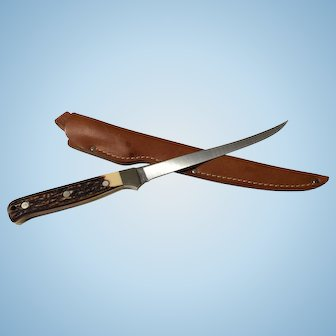 Vintage Schrade Uncle-Henry fish knife 12 inches and leather sheath