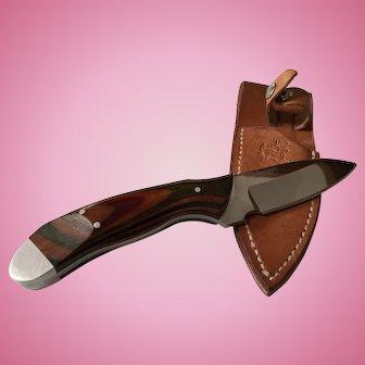 W. Barminski Loveland,Colorado custom made hunting knife in leather sheath