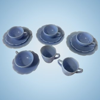 Vintage Partial Set of Jeanette Glass Blue Delphite Cherry Blossom Children's Dishes