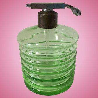 Vintage Art Deco Green Depression Glass Perfume Bottle