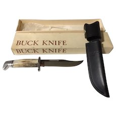 Stag handle Buck knife and sheath model 119 in box