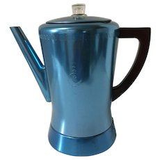 Vintage Retro Blue Aluminum West Bend Electric Coffee Pot