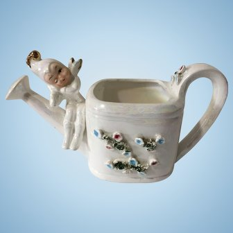 Vintage Pixie on a Watering Can Christmas Planter