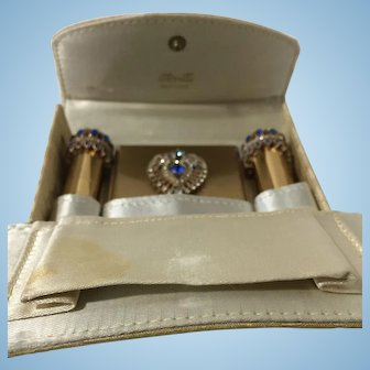 Vintage Atomette Jeweled Compact Lipstick and Perfume Set