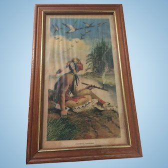 Antique Advertising Framed Print Indian Chief Doe-Wah Jack