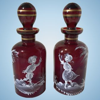 Pair of Red Mary Gregory Perfume Cologne Bottles