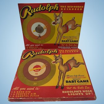 Vintage 1939 Rudolph The Red Nosed Reindeer Tin Toy Game
