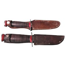 2 Vintage Schrade Walden Bowie Hunter fixed blade hunting knives and sheaths