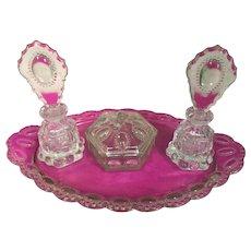 7 piece set of Beaded Medallion perfume dresser set