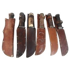 6 vintage 2250 Cattaragus survival hunting knives in sheaths Cougar sheath stag handle
