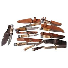 10 German stag handle hunting knives