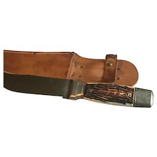 Vintage Colonial old hunting knife and sheath