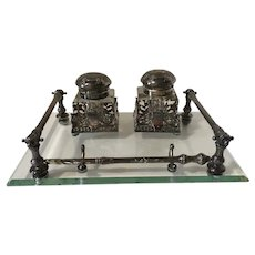 Antique 800 Silver Double Inkwell & Dip Pen Set