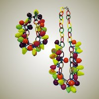 Art Deco Glass Fruit Necklace & Bracelet on Celluloid Chain