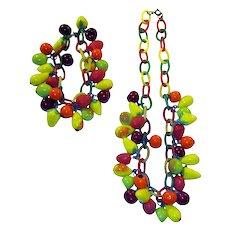 Art Deco Glass Fruit Necklace & Bracelet on Celluloid Chain