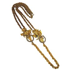 Lucien Piccard Gold-Toned and Silver-Toned Necklace with Masked Faces