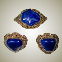 Lapis and Vermeil Brooch and Earring Set