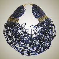 Impressive Cobalt Blue & Black Multi-Strand Glass Beaded Necklace