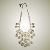 Exquisite Sandor Bib Necklace with Pear-Shaped & Round Crystals