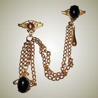 Rare Gold-Tone Double Brooch with Chatelaine Elements